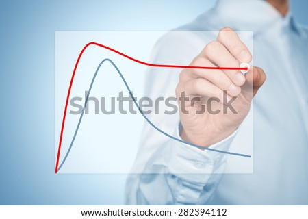 Benchmarking or product life cycle concept. Businessman compare or plan better product life cycle.  - stock photo