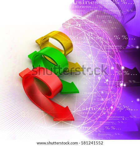 Bend arrows with man - stock photo