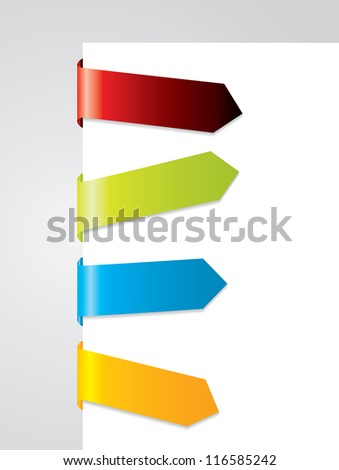 Bended tags on paper corner - stock photo