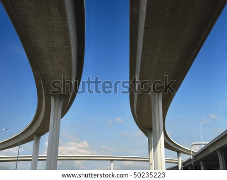 Beneath a Los Angeles freeway. - stock photo