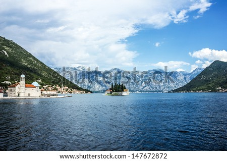 Benedictine monastery on the island in Perast, Montenegro.