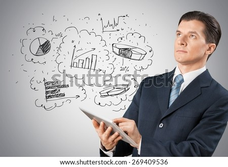 Benefit, blue, business. - stock photo