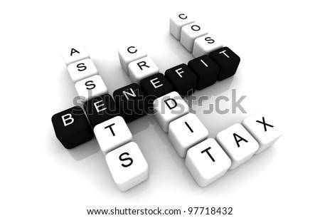 Benefit 3D box crossword jigsaw - stock photo