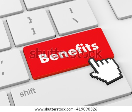 Benefits - Business Concept. Button on Modern Computer Keyboard, 3d rendering - stock photo