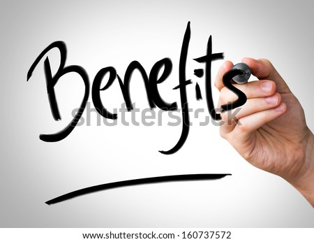 Benefits Hand writing with a black mark on a transparent board - stock photo