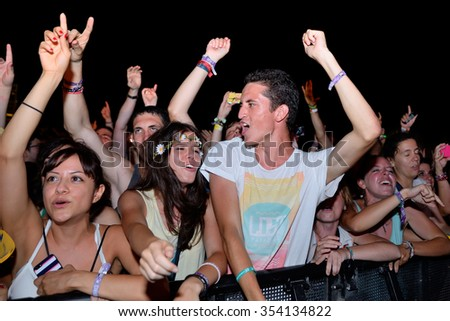 BENICASSIM, SPAIN - JUL 17: Crowd in a concert at FIB Festival on July 17, 2015 in Benicassim, Spain. - stock photo