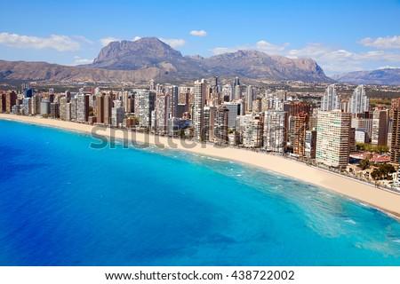 Benidorm aerial Levante beach in Alicante Mediterranean of Spain - stock photo