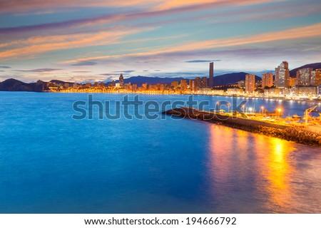 Benidorm Alicante sunset playa de Poniente beach in Spain Valencian community - stock photo