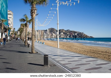 Benidorm is a popular English holiday place in Spain. - stock photo