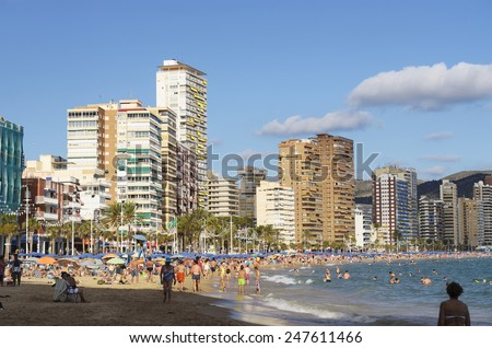 BENIDORM, SPAIN - SEPTEMBER 22, 2013: Beach at the Mediterranean resort Benidorm. September 22, 2013 in Benidorm, province of Alicante, Spain - stock photo