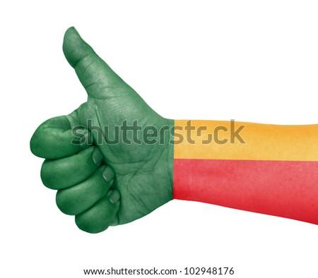 Benin flag on thumb up gesture like icon - stock photo