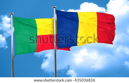 Benin flag with Romania flag, 3D rendering