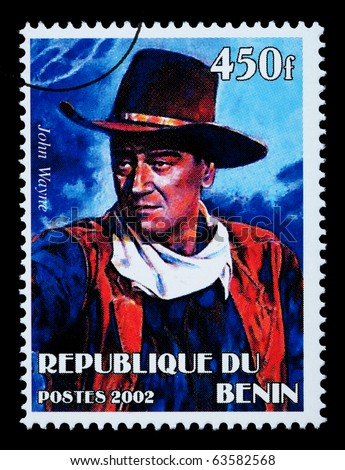 BENIN REPUBLIC - CIRCA 2002: A postage stamp printed in the Benin Republic showing John Wayne, circa 2002 - stock photo