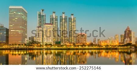 Benjakitti park Bangkok downtown city at night, Thailand - stock photo