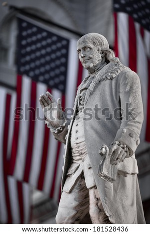 Benjamin Franklin at Old Post Office building, Washington DC, December 2013 - stock photo