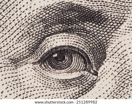 Benjamin Franklin eye super macro closeup on us one hundred dollar bill, USA founding father, united states money - stock photo