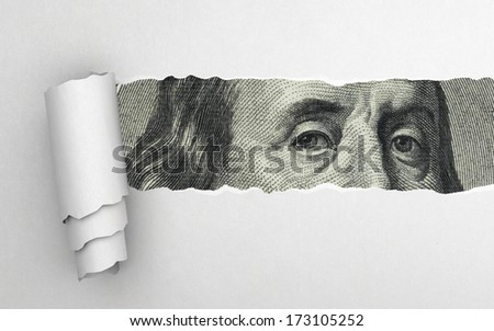 Benjamin Franklin face on dollar bill - stock photo