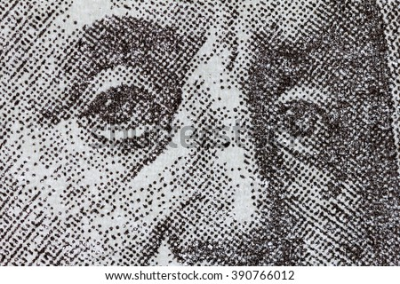 Benjamin Franklin on one hundred dollar bill. Macro background - stock photo