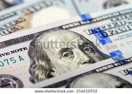 Benjamin Franklin portrait from 100 dollars banknote - stock photo