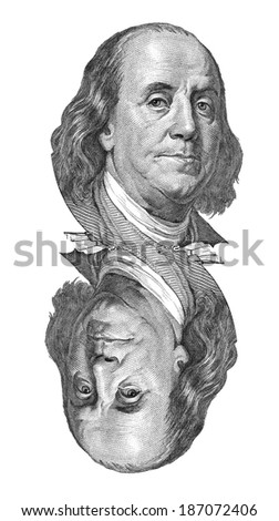 Benjamin Franklin portrait on one hundred US dollars banknote. Isolated on white. - stock photo