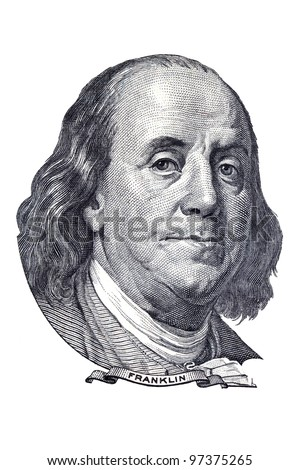 Benjamin Franklin portrait on one hundred US dollars banknote. Isolated on white.