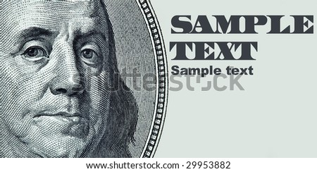 Benjamin Franklin portrait with space for your own text - stock photo