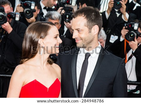Benjamin Millepied and Natalie Portman attend the opening ceremony and premiere of La Tete Haute ( Standing Tall ) during the 68th annual Cannes Film Festival on May 13, 2015 in Cannes, France. - stock photo