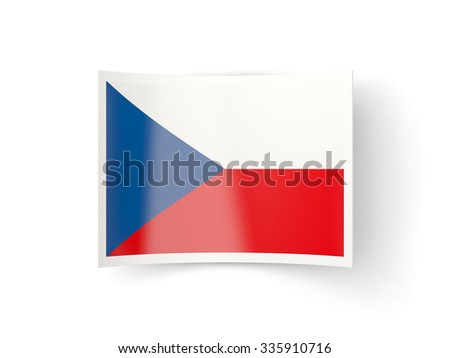 Bent icon with flag of czech republic isolated on white - stock photo