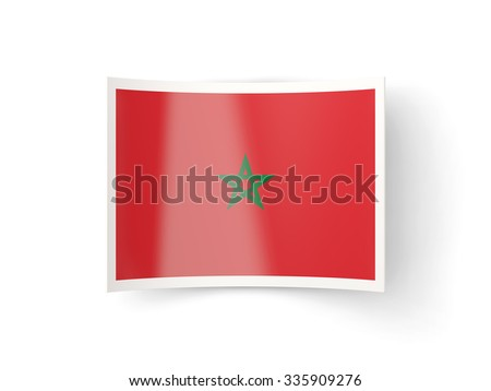 Bent icon with flag of morocco isolated on white
