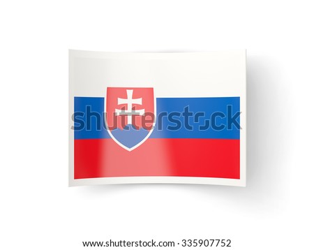Bent icon with flag of slovakia isolated on white - stock photo