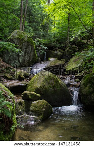 Bent Run waterfall near Warren Pennsylvania at Allegheny National Forest - stock photo