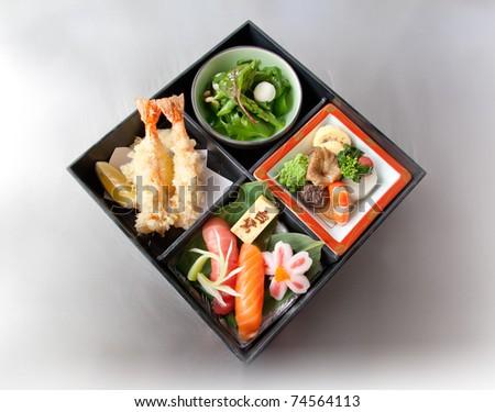 bento box on metal background - stock photo