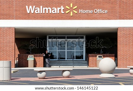 BENTONVILLE, AR - OCTOBER 4: An entrance to the Walmart Home Office on October 4, 2012. The Walmart Home Office is the world headquarters of the retail giant. - stock photo