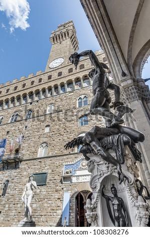 Benvenuto Cellini's 1545 bronze sculpture of Perseus with the Head of Medusa At Piazza della Signoria located in Florence, Italy - stock photo