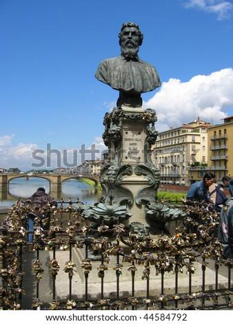 Benvenuto Chellini bronze monument in Florence, Italy - stock photo