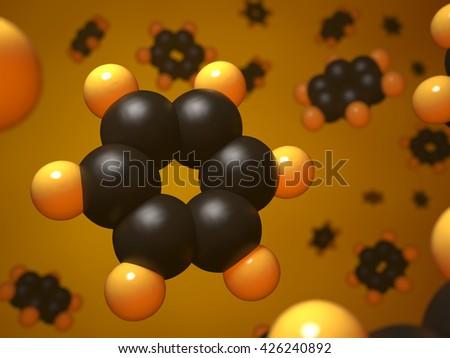 Benzene molecular structure 3d concept illustration. - stock photo