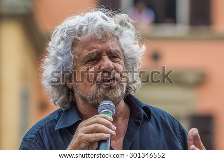 Beppe Grillo speak in Bologna Italy 10 May 2014  in Piazza San Francesco Movimento 5 Stelle M5S.
