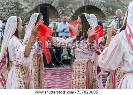 berat albania september 29 2016 people wearing national costume dancing in traditional - Traditional Castle 2016