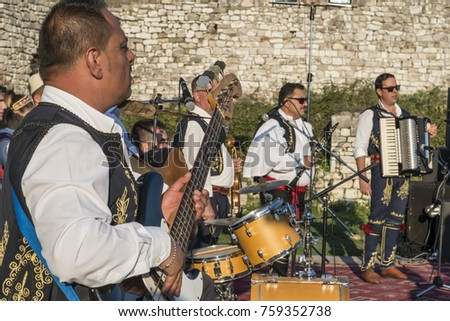 berat albania september 29 2016 people wearing national costume playing in traditional - Traditional Castle 2016