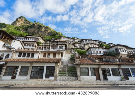 BERAT, ALBANIA : Traditional architecture in the old town. Inscribed on the UNESCO World Heritage List, Berat has a wealth of buildings of high architectural and historical interest. - stock photo