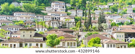BERAT: Traditional architecture in the old town. Inscribed on the UNESCO World Heritage List, Berat has a wealth of buildings of high architectural and historical interest. Banner. - stock photo