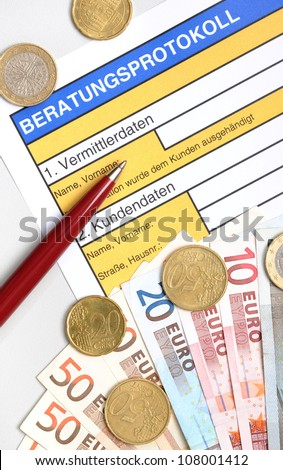 Beratungsprotokoll ( = consulation protocol) as it is mandatory for financial advice. The self created form asks for the informations of the consultant (=Vermittlerdaten) and client  (=Kundendaten)