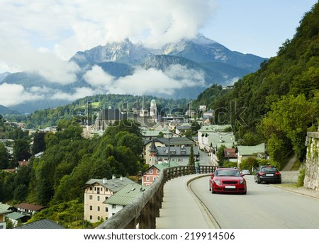 Berchtesgaden city landscape and Watzmann mountain in Germany Alps - stock photo
