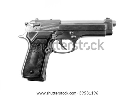 Beretta gun isolated on the white background.