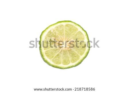 Bergamot (Kaffir lime) cut in half Isolated on white background - stock photo
