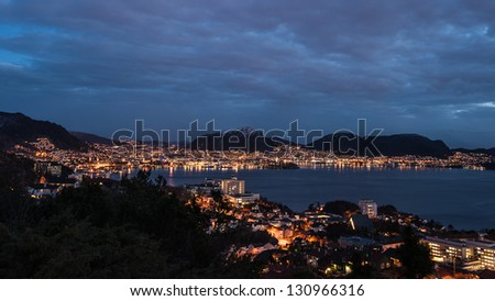 Bergen city in Norway at night - stock photo