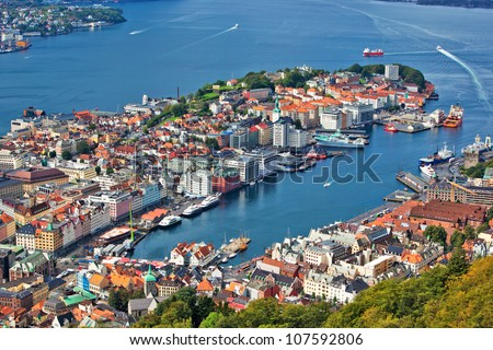Bergen city in Norway view from hill.