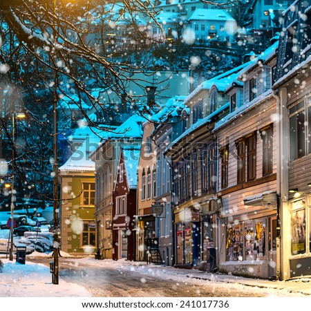 BERGEN,NORWAY - DECEMBER 29: The historical part of the city. Bergen, Norway on December 29, 2014. Bergen the second largest city in Norway. Bergen is known as the gateway to the kingdom of the fjords - stock photo