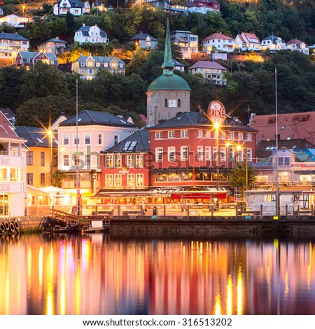 BERGEN, NORWAY -SEPT 25: Historical buildings on the street in Bergen on Sept 25, 2014, Norway  - stock photo