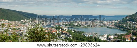 Bergen sight from the mountains - stock photo
